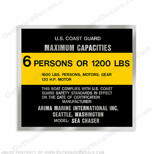 Sea Chaser Arima Marine Capacity Decal - 6 Person