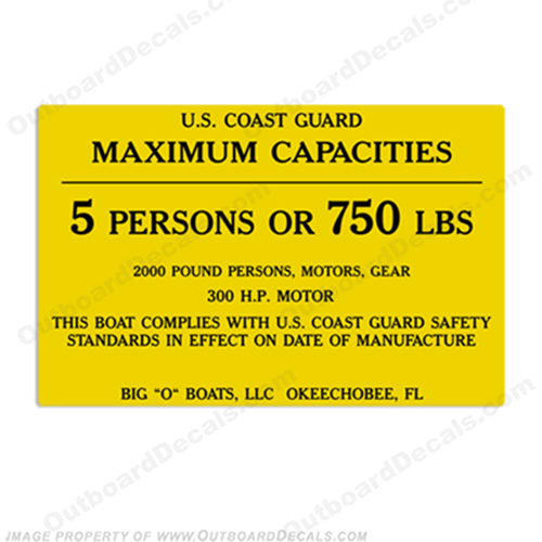 Big O Boats 5 Person Boat Capacity Plate Decal
