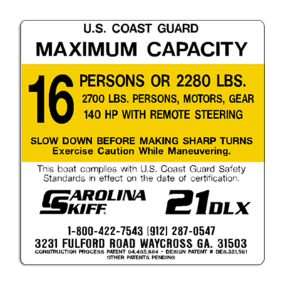Carolina Skiff 21DLX Decal - 16 Person