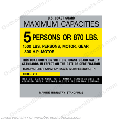 Champion 210 Capacity Decal - 5 Person capacity, plate, sticker, decal