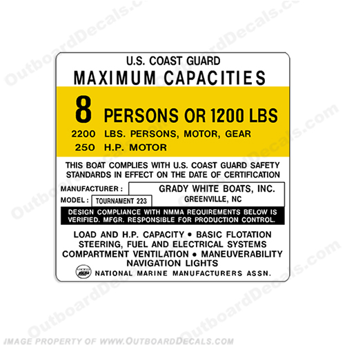Grady White Tournament 223 Capacity Decal - 8 Person capacity, plate, sticker, decal