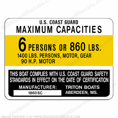 Triton 1860 SC Boat Capacity Decal - 6 person