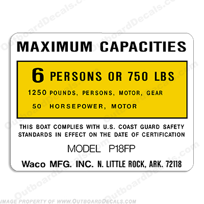 Waco Capacity Decal P18FP 6 Person