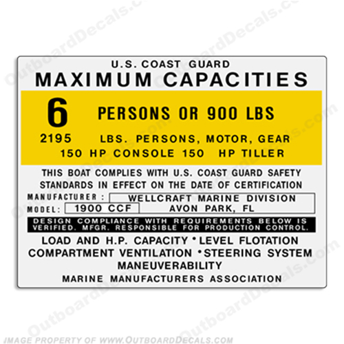 Wellcraft 1900 CCF Capacity Decal - 6 Person capacity, plate, sticker, decal