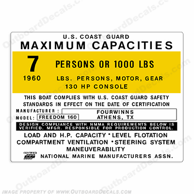 Four Winns Freedom 160 Capacity Decal - 7 Person