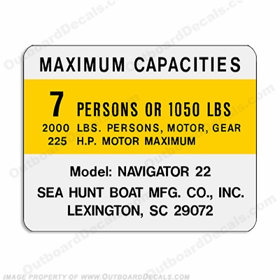Sea Hunt Navigator 22 Capacity Decal - 7 Person seahunt