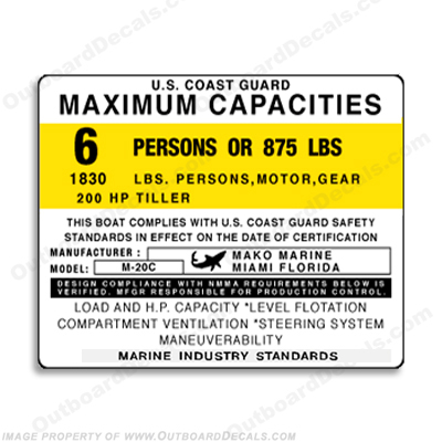 Mako Marine M-20C Decal - 6 Person