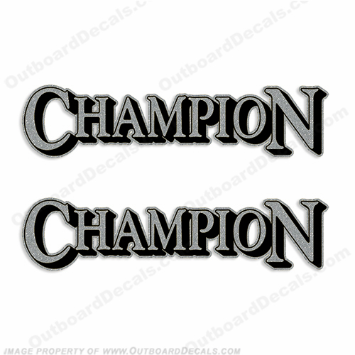 Champion Boat Logo Decals (Set of 2) - Silver