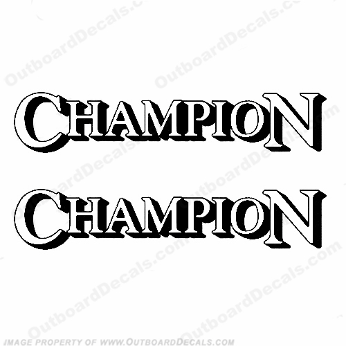 Champion Boat Logo Decals (Set of 2) - White/Black
