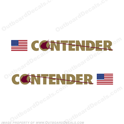 Contender Boat Logo Decal w/Flag - Set of 2 (Burgundy/Gold)