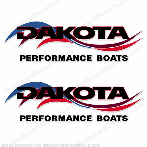 Dakota Performance Boats Decals (Set of 2) - Red/Blue