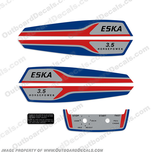 Eska 3.5hp Outboard Engine Decal Kit  eska, 3.5, 35, 3, 5, hp, outboard, engine, motor, decal, sticker, kit, set, tiller