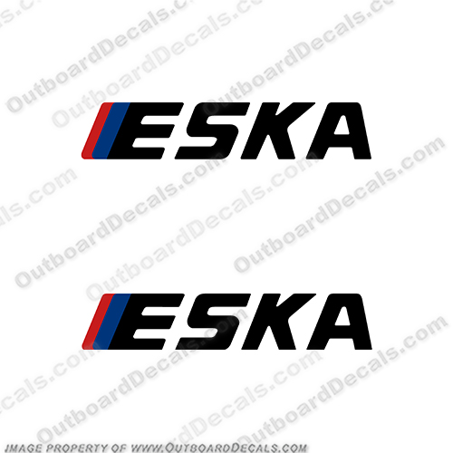 Eska Outboard Decals (set of 2) eska, 3.5, 35, 3, 5, hp, outboard, engine, motor, decal, sticker, kit, set, tiller