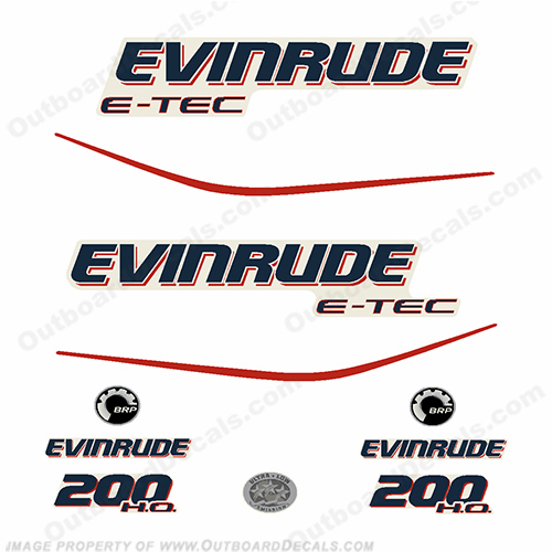 Evinrude 200hp ETEC High Output outboard engine decal sticker set reproduction