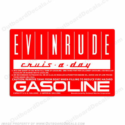 Evinrude 1960 6 Gallon Fuel Tank Decal 6