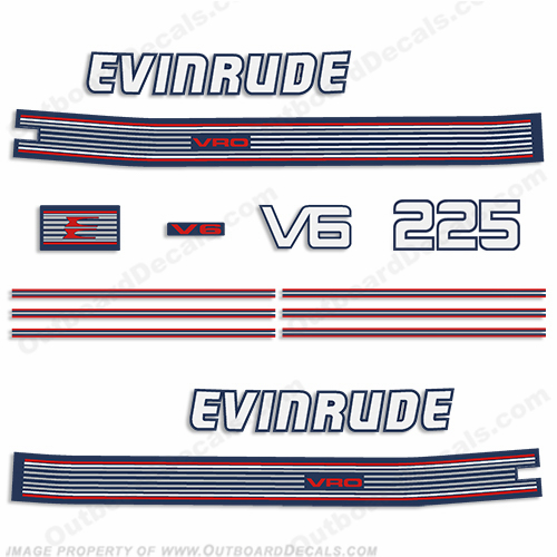 Evinrude 1989 225hp V6 Decal Kit