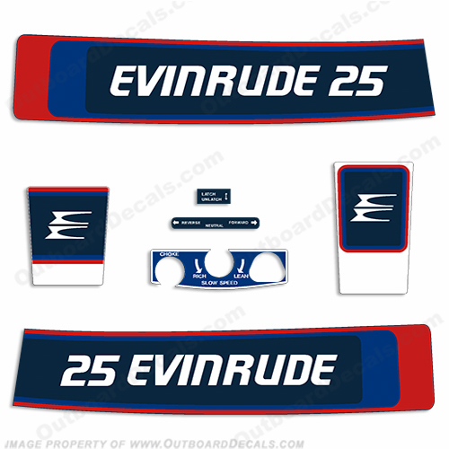 Evinrude 1976 25hp Decal Kit