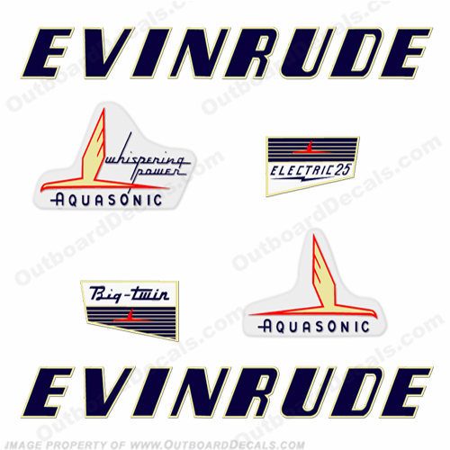 Evinrude 1955 25hp Electric Decal Kit