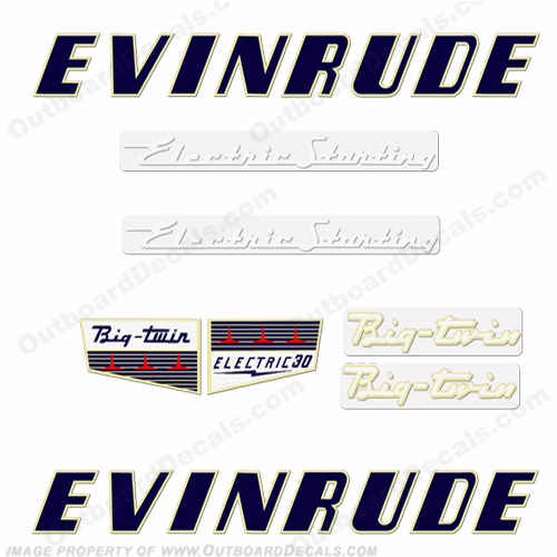 Evinrude 1956 30hp Electric Decal Kit