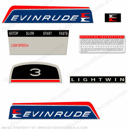 Evinrude 1966 3hp Lightwin Decal Kit