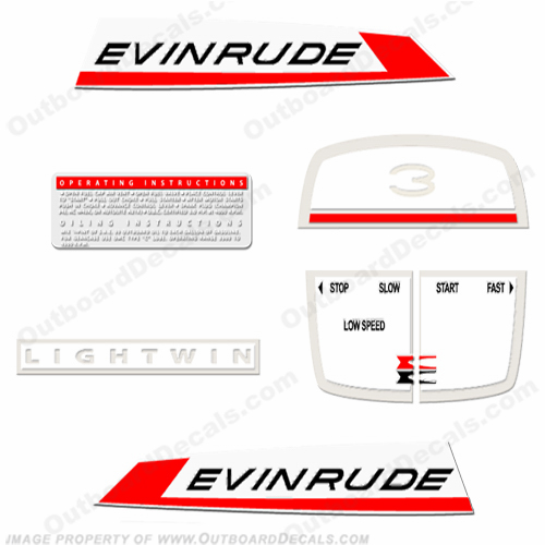 Evinrude 1967 3hp Lightwin Decal Kit