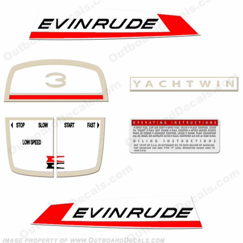 Evinrude 1967 3hp Yachtwin Decal Kit