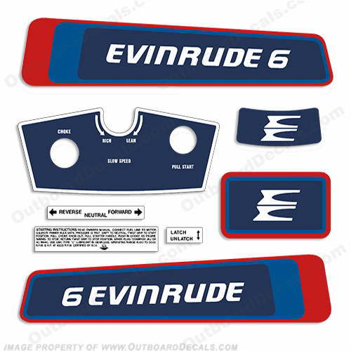 Evinrude 1976 6hp Decal Kit