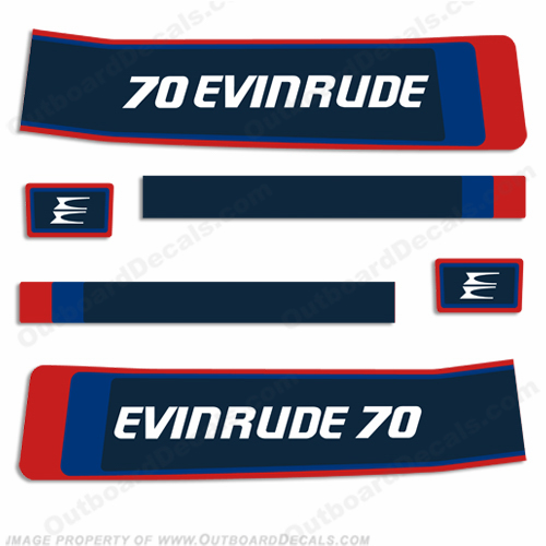Evinrude 1976 70hp Decal Kit