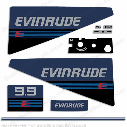 Evinrude 1987-1988 9.9hp Decal Kit evinrude 9.9, 87, 88