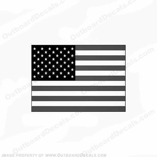Flag Decal - American (Grey/Black)