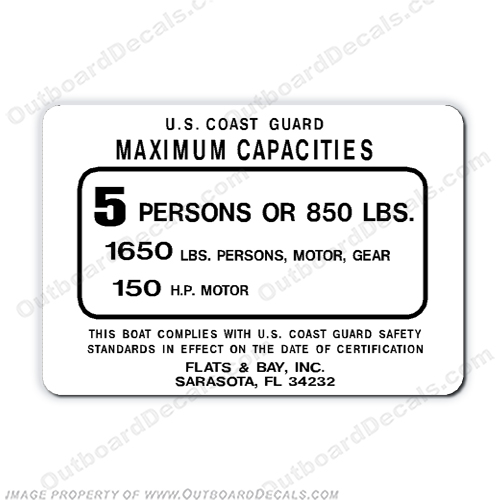 Flats & Bay 5 person capacity decal capacity, plate, sticker, decal, flat, bay, boat