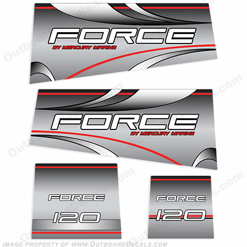 Mercury Marine Force 120hp Decal Kit - Silver