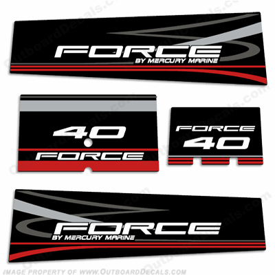 Mercury Marine Force 40hp Decals - Black
