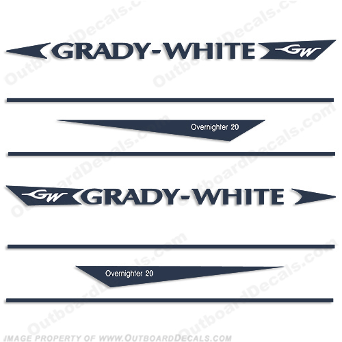 Grady White Overnighter 20 Decal Kit over nighter