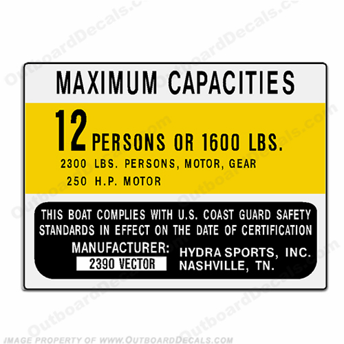 HydraSports 2390 Vector Decal - 12 Person