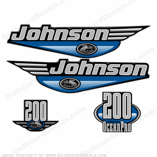 JOHNSON 200HP OCEANPRO DECALS - Any Color Johnson, Ocean Pro, pro, 200hp, 200, hp, 200 hp, ocean, pro
