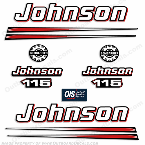 Johnson 115hp 2004 Decals - Blue Cowl