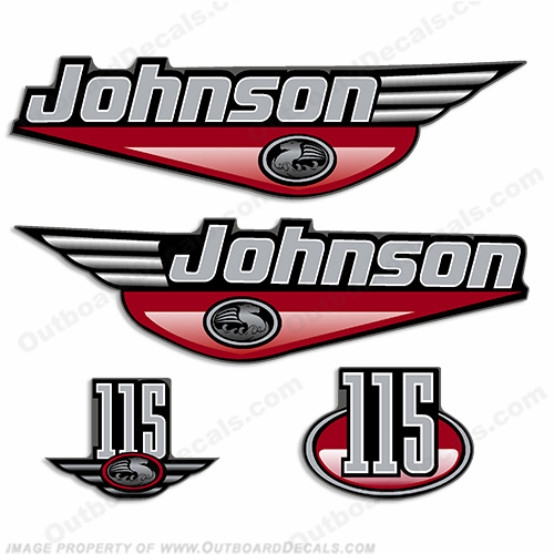Johnson 115hp Decals 1999 - 2001 (Red)