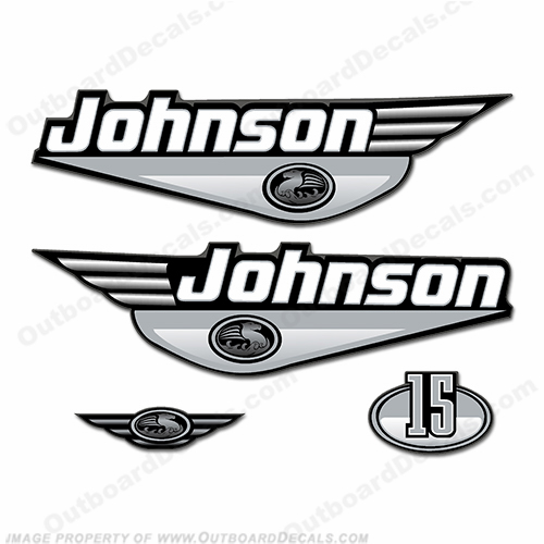 Johnson 15hp Decals - Silver