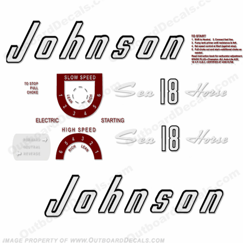Johnson 1957 18hp - Electric Decals