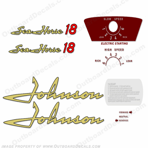Johnson 1958 18hp - Electric Decals