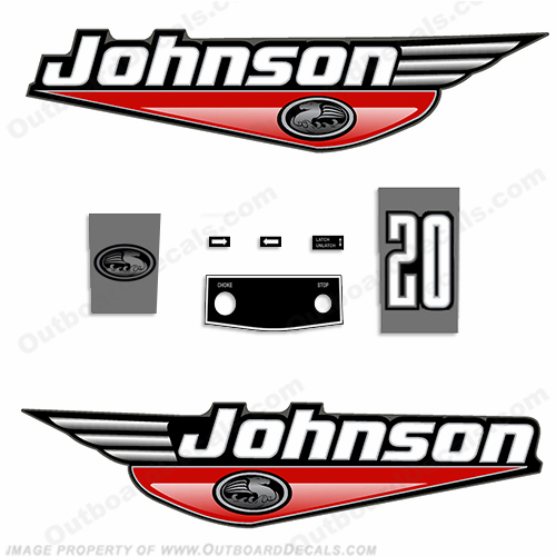 Johnson 20hp Decals - 1999 - 2000 (Red)