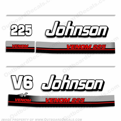 Johnson 225hp V6 Venom Decals - 1995 - 1996