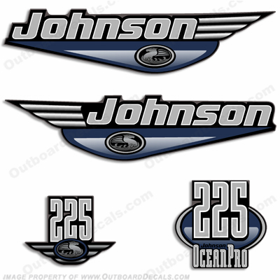 JOHNSON 225HP OCEANPRO DECALS - Any Color Johnson, Ocean Pro, pro, 225hp, 225, hp, 225 hp, ocean, pro
