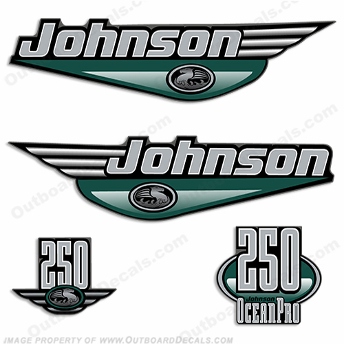 JOHNSON 250HP OCEANPRO DECALS - Any Color Johnson, Ocean Pro, pro, 250hp, 250, hp, 250 hp, ocean, pro