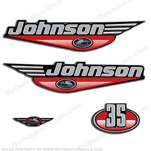 Johnson 35hp Decals - Red
