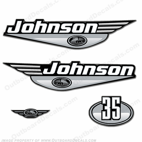 Johnson 35hp Decals - Silver