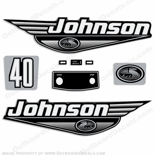 Johnson 40hp Decals - 1999 - 2000 - Black