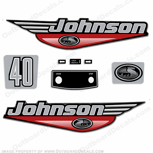 Johnson 40hp Decals - 1999 - 2000 - Red