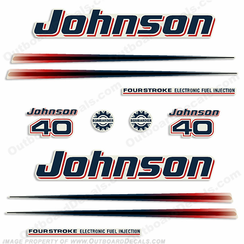 Johnson 40hp FourStroke Decals - 2002 - 2006